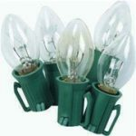 25 Light C-7 Light Set - Clear on Green Wire