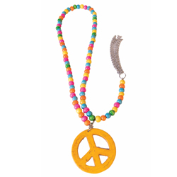 Peace Sign Wooden Bead Necklace