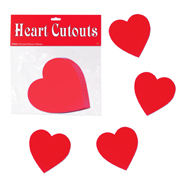 4 Inch Red Heart Cutouts
