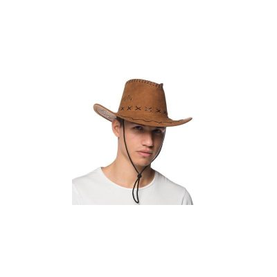 Brown Promo Suede Western Cowboy hat with laces