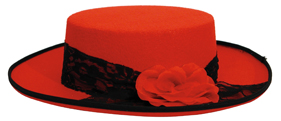 Spanish hat Felt Day of the Dead Black and Red
