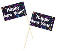 Happy New Year Toothpick Flags
