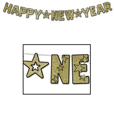 Gold Happy New Year Banner / Streamer