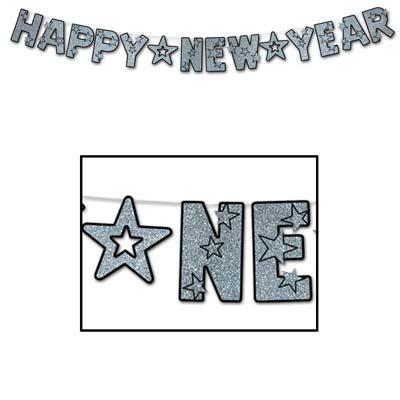 Happy New Year Glittered Streamer