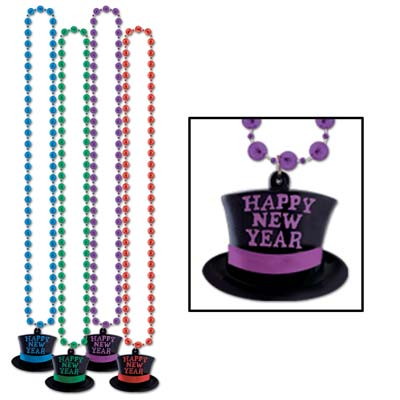 Beads with Happy New Year Top Hat Medallion