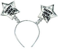 Happy New Year Silver Star Head Boppers
