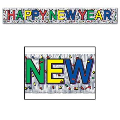 Metallic Happy New Year Fringe Streamer Banner