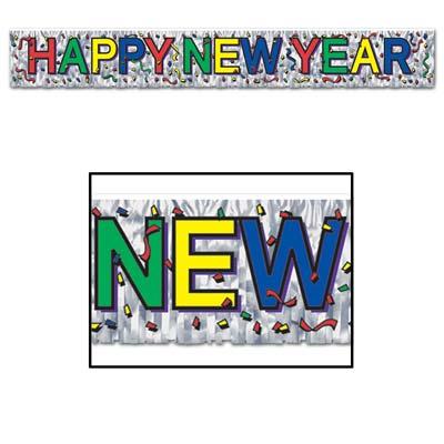 Metallic Happy New Year Fringe Streamer Banner