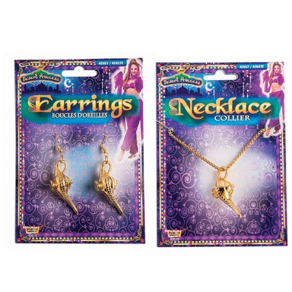 Gold Genie Lamp Earrings & Necklace