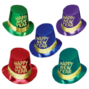 Foil Happy New Year Top Hat with Gold Trim
