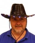Western Black Sequin Hat with Super Bright  LED Lights