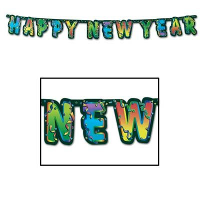 Happy New Year Streamer Multi Color