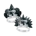 Happy New Year Sparkling Silver & Black Tiaras