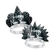 Happy New Year Sparkling Silver & Black Tiaras