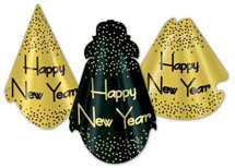 New Years Hat Assortment in Gold and Black