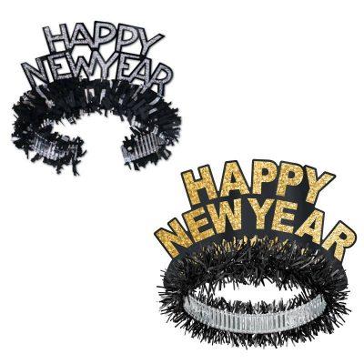 Black Gold - Black Silver Happy New Year Tiaras