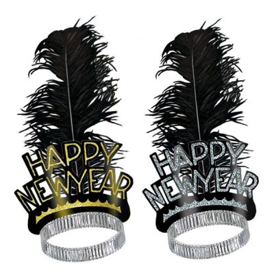 Chicago Swing New Year's Eve Tiara with Black Feather