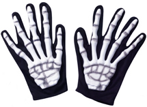 Costume Rubber/Fabric Skeleton Gloves - Adult Size