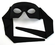 Black Fabric Lone Ranger Half Mask with Ties