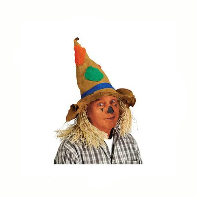 Scarecrow Hat with Patches and Straw Hair