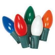 25 Light C-9 Light Set - Multi Color Bulbs on Green Wire