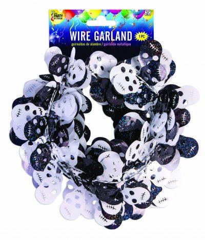 18' Vinyl Figure Wire Garland w black White Skulls