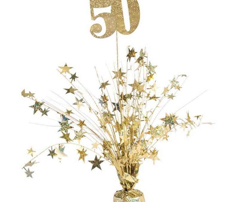 Gold 50th Birthday Anniversary Balloon Centerpiece