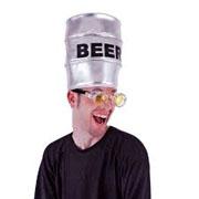 Beer Keg Hat - Silver Lame Fabric