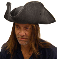 Deluxe Scallywag Pirate Hat - Black