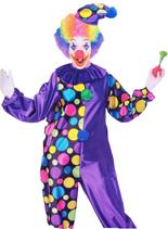 Polka Dot Clown Costume - Purple/Multi