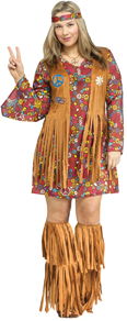 Hippie Peace & Love Groovy 60's Plus Size Flower Power