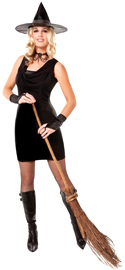 Witch costume dress, hat, and glovelettes - Black