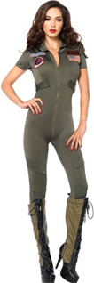 Top Gun Flight suit Jumpsuit Olive Green Sexy Military Costume