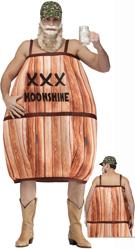 Hillbilly Barrel XXX Moonshine Costume w/ cap & beard