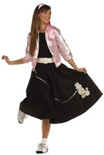 Poodle Skirt black w/ white poodle & silver sequin leash