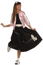 Poodle Skirt black w/ white poodle & silver sequin leash
