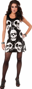 Skull Sequin Dress Black