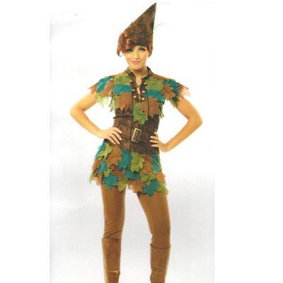 Ladies Peter Pan Costume Dress, Leggings, Hat, Belt