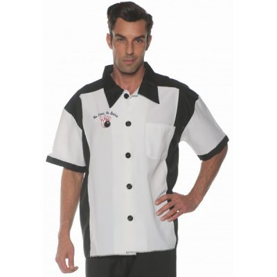Black n White Adult Size Bowling Shirt