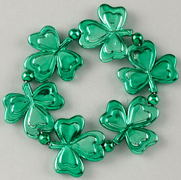 Elastic Green Metallic Shamrocks Bracelet