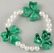 Elastic White Pearl and Green Shamrocks Bracelet
