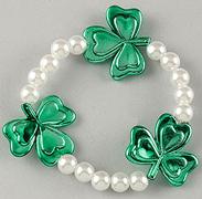 Elastic White Pearl and Green Shamrocks Bracelet