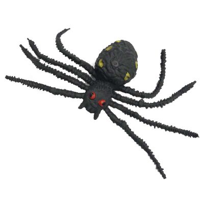 4 Inch Black Rubber Spider with Yellow Spots