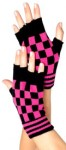 Shocking Pink and Black Check Fingerless Gloves