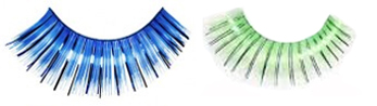 Eyelashes long luxurious blue or green with tinsel