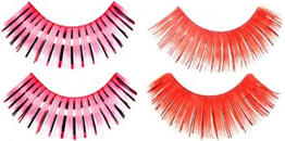 Eyelashes long luxurious pink or red with tinsel