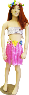 Childs Pink Plastic Raffia Hula Skirt & Headband Set