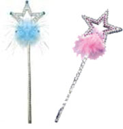 Star Wand w/ Rhinestones, gems, marabou Princess Queen Frozen