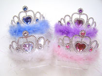 Plated Plastic Jeweled Heart Tiara with Tinsel Marabou
