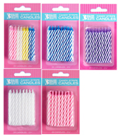 Spiral Striped Birthday Candles - Assorted Colors
